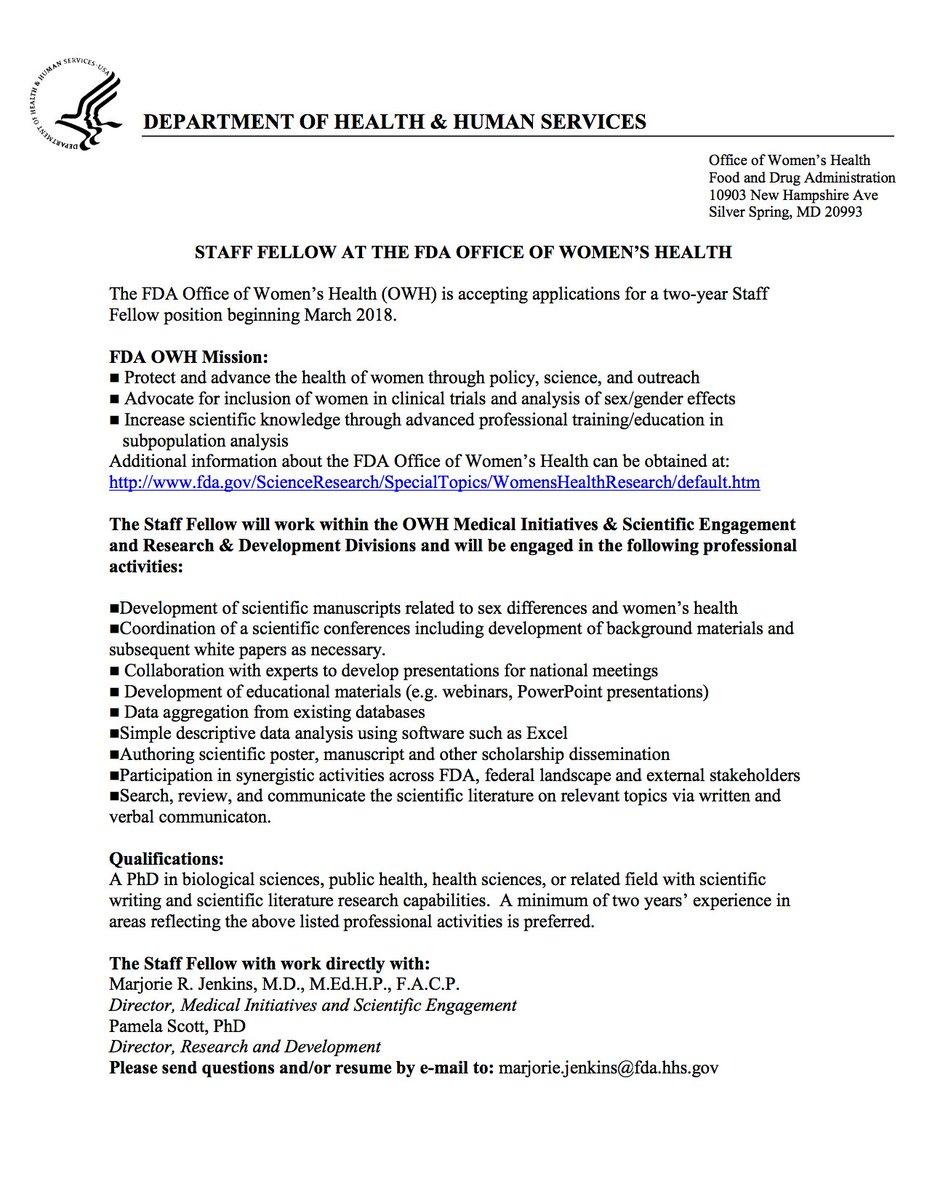 "Ruth Geller On Twitter ""FDA Office Of Women's Health Is Hiring For"