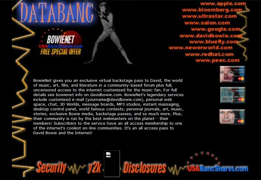 Publicidad web que utilizaba la imagen de Bowie y sus diversos sitios en línea. Bowiebanc