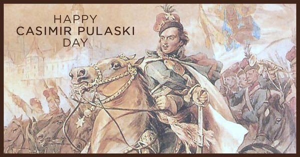 Happy Casimir Pulaski Day!  This holiday, which commemorates the birthday of Polish-American Revolutionary War Hero General #Pulaski, 'the father of the American cavalry' is celebrated in several U.S. states including #Illinois &  🇵🇱🇺#Wisconsin🇸