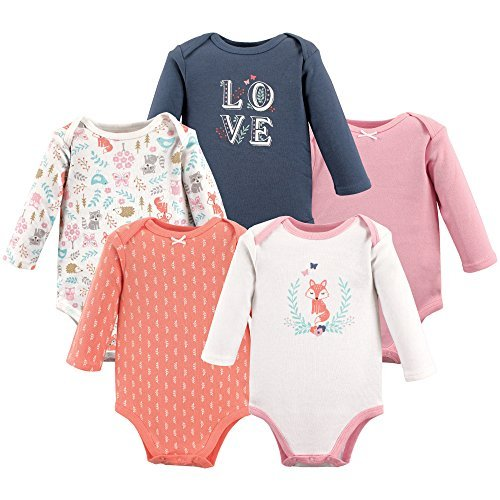 Hudson Baby Baby Infant Long Sleeve Bodysuit 5 Pack, Woodland Fox, 3-6 Months...