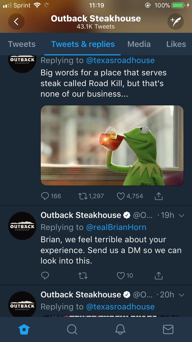outback steakhouse a twitter