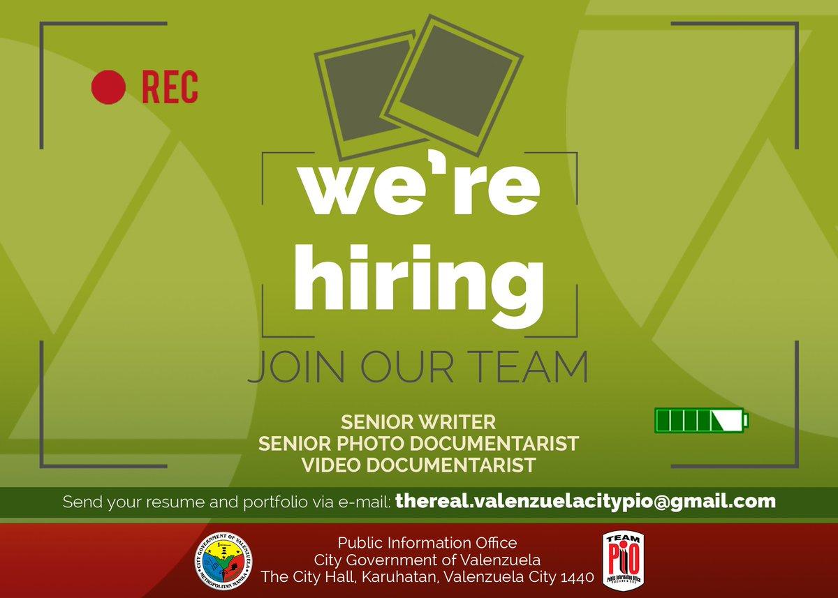Video Documentarist Work With Us, Send Your Resume And Portfolio Via  E-Mail At Thereal.valenzuelacitypio@gmail.com  #teampiopic.twitter.com/lna7Rvrobm