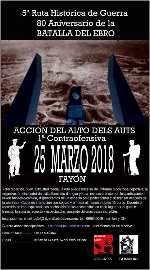 """test Twitter Media - El proximo 25 de marzo:  5ª ruta senderista de guerra """"Alto de los Auts"""" ruta historica entre los lugares de combate de la batalla del Ebro, 1ª cotraofensiva. https://t.co/XbAIBM9EdQ"""