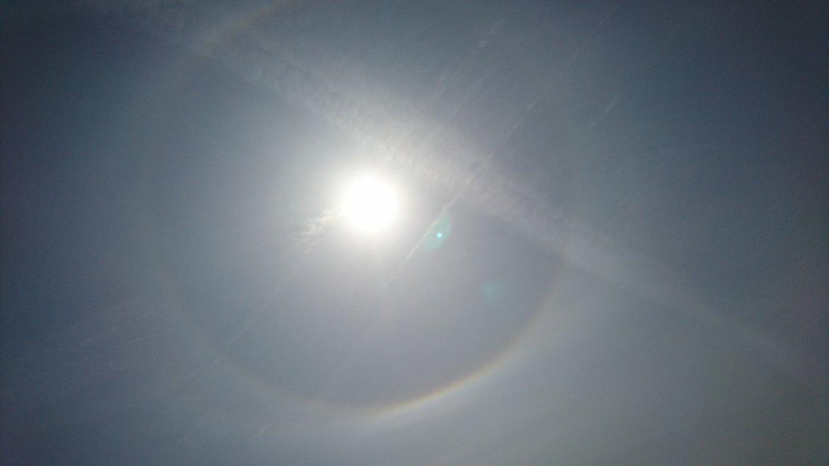 test ツイッターメディア - 出かける時に外見てたら太陽の周りに円になって虹がかかってた!!何これ!!まじ凄い!! https://t.co/1wyeiPVEp2