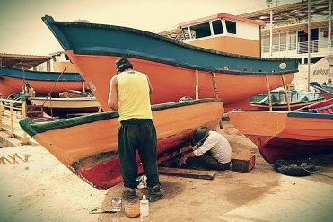 Painting, Boats, Fishermen, Inks