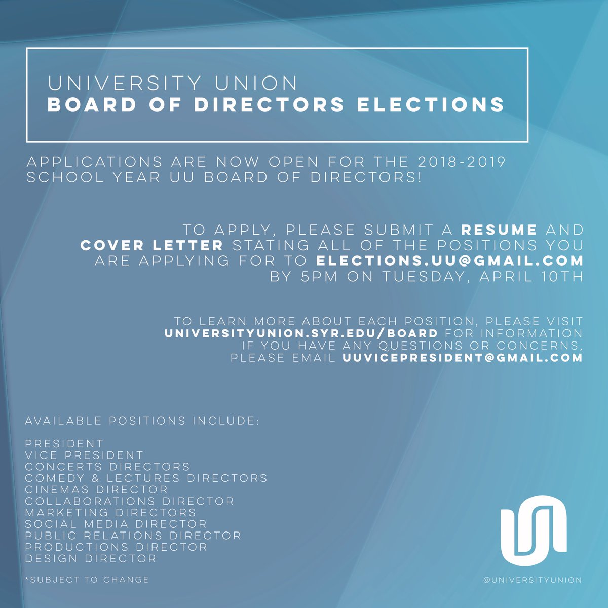 Board Director Cover Letter University Union On Twitter