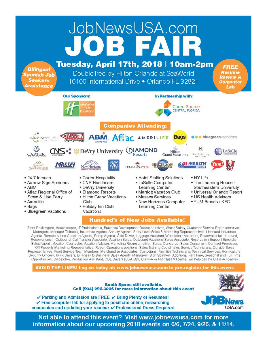 2 Events Thursday For #veterans - One At Doubletree At Sea World From  10-1P, The Other @ucf The Venue From 11-3P. Bring Lots Of Resumes. Dress 4  Success!