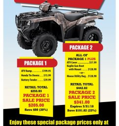 get everything you will need for riding this spring at carolina honda atv deals packages specials ramps utilitybags tiedowns winch honda  [ 776 x 1199 Pixel ]