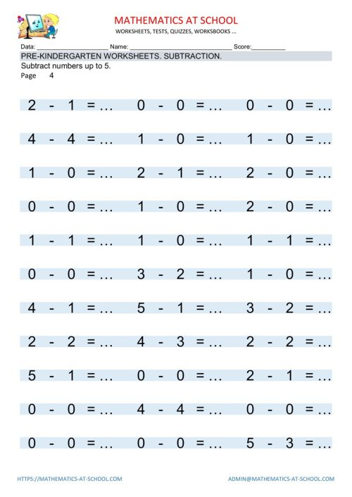small resolution of Mathematics School on Twitter: \PRE-KINDERGARTEN WORKSHEETS: Numbers  subtraction. Free printable pdf Subtract numbers up to 5. Worksheets with  answers. https://t.co/G8qIIuSZJA #pre-k #prekindergarten #math #worksheets # subtraction #subtracting ...