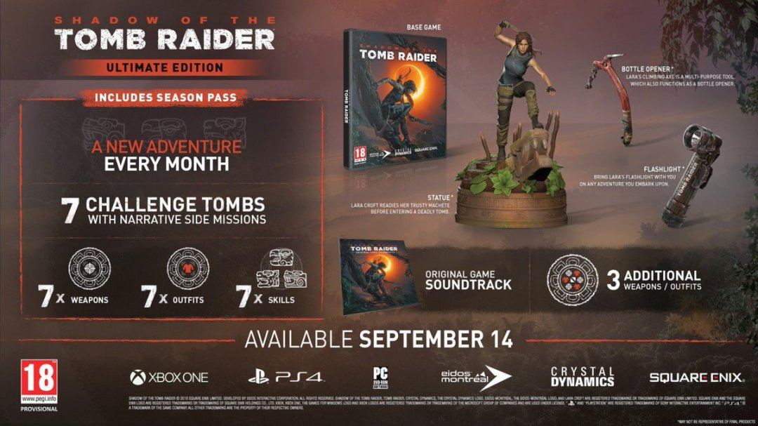 Shadow of the Tomb Raider Season Pass & Special Editions Revealed