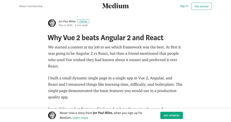 """""""Why Vue 2 beats Angular 2 and React""""  #angularjs #VueJS #reactjs #programming #devops"""