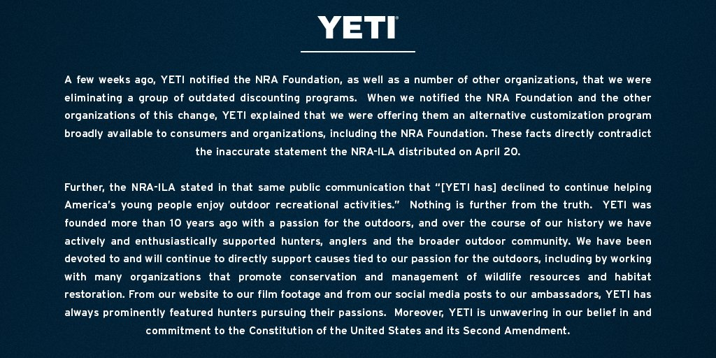 Cooler maker Yeti cuts ties with the NRA Foundation