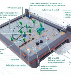 the set includes an electronics trainer circuit design software and student resource packs that combine to provide an exciting range of design and build  [ 1200 x 941 Pixel ]