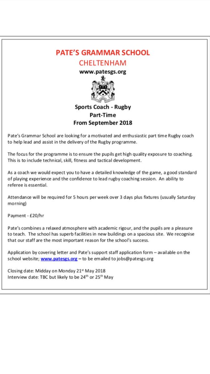 Rugby Coach Cover Letter Pate S Sport On Twitter