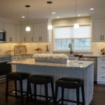 Kccne On Twitter Attleboro Ma Kitchen Featuring Ice White Granite With Bevel Edge Maple Cabinets In A White Finish Large Single Sink Calcutta Gold Marble Backsplash In A Brick Lay Pattern And