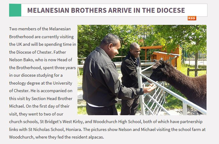 Two members of the Melanesian Brotherhood are currently visiting the UK and will be spending time in the Diocese of Chester.