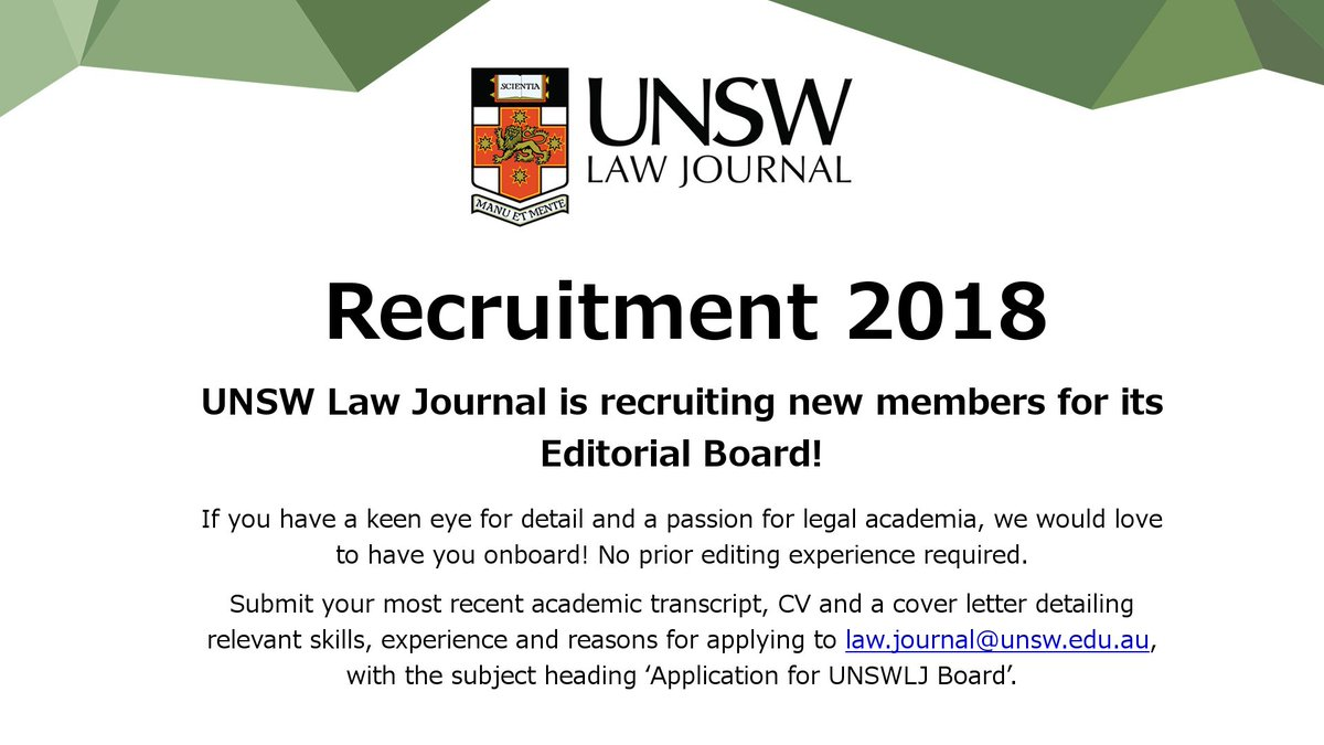 Unsw Cover Letter Unsw Law Journal On Twitter