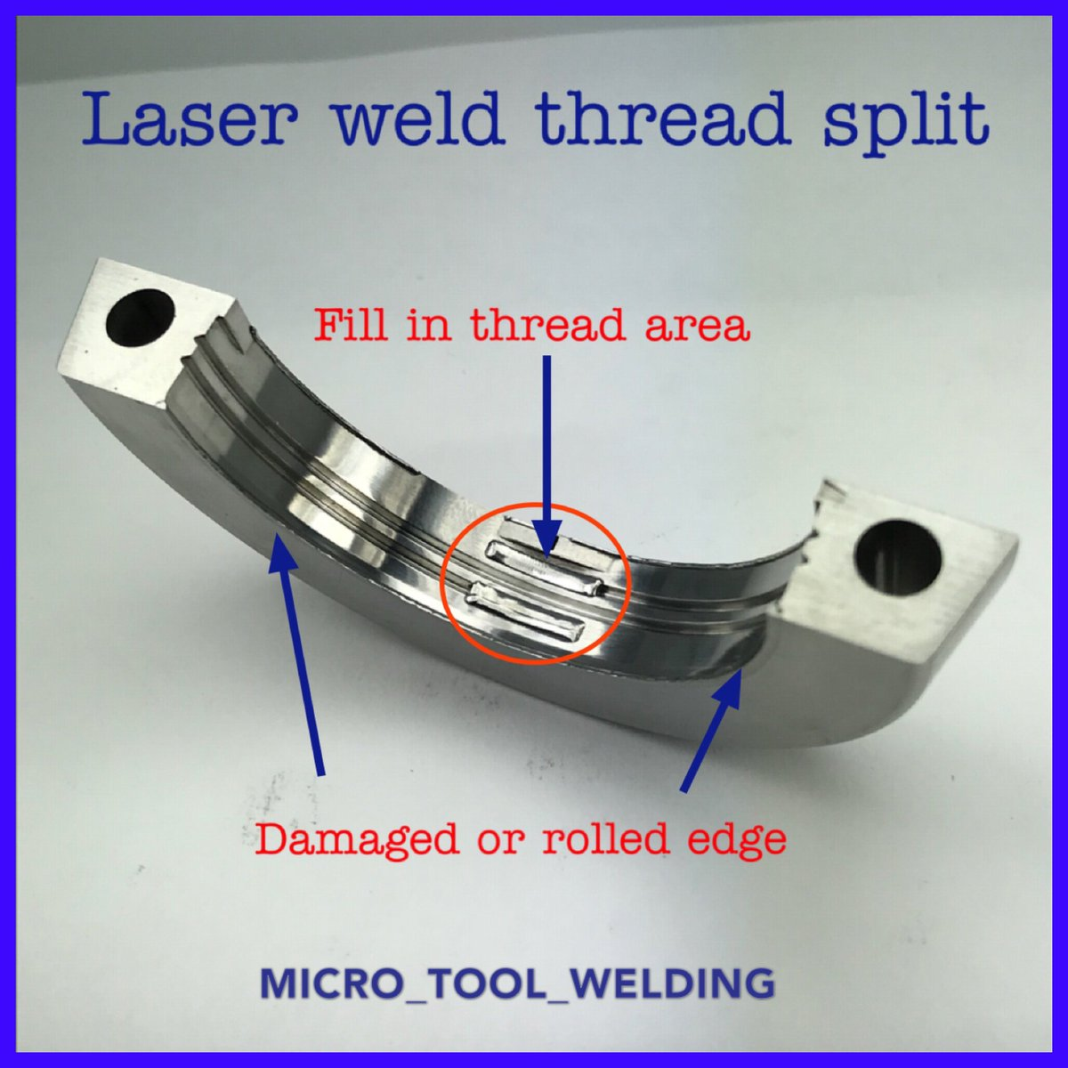 hight resolution of we used the laser welding process to fill in the thread area on this highly polished molding surface microtoolwelding laserwelding microlaserwelding