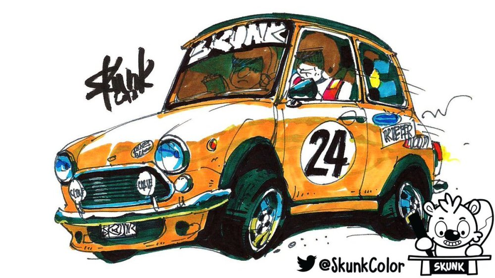 medium resolution of drawing cars with skunk on twitter minicooper rally drawing promarkers for drawingcars youtube channel