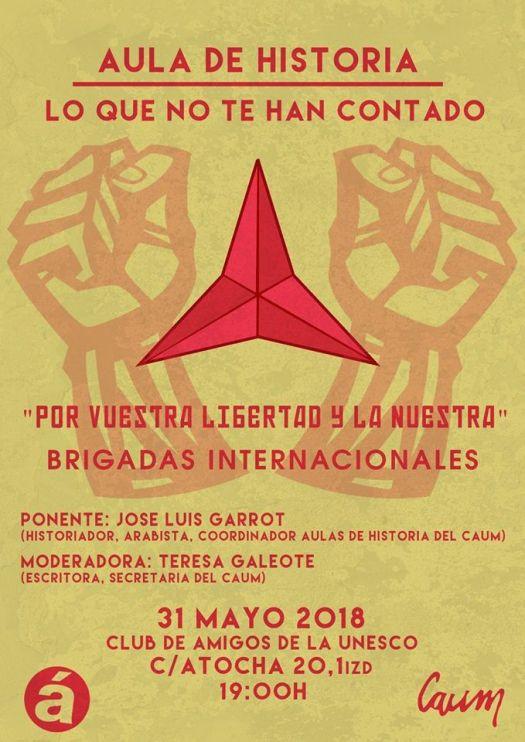 """test Twitter Media - 31 de Mayo en #Madrid c/Atocha 20 a las 19h. """"Por vuestra libertad y la nuestra"""" Brigadas Internacionales. Aula de Historia. https://t.co/dLDLQSm1i3"""