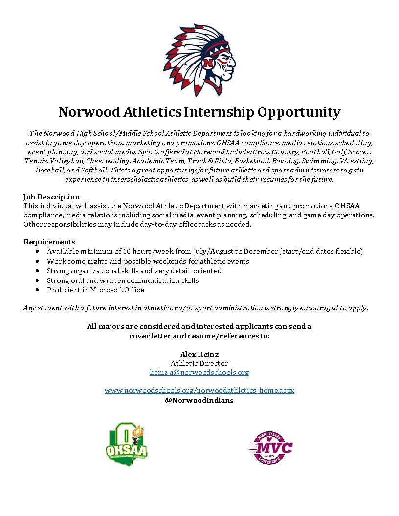 Sports Internship Cover Letter Norwood Indians On Twitter