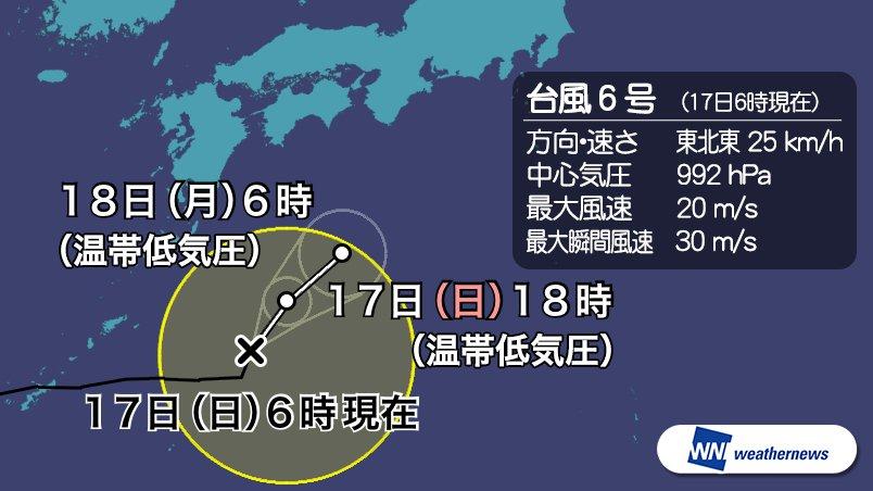 test ツイッターメディア - 【台風情報】6時現在、台風6号は日本の南を、1時間におよそ25kmの速さで東北東へ進んでいます。台風は今日にも温帯低気圧へと変わり、19日(火)にかけて西日本から東日本の太平洋側の沿岸に近づく見込みです。今後も随時最新の見解をお伝えします。 #台風 #台風6号 https://t.co/vJHTfHEt4p https://t.co/lJ5N3cNYpW