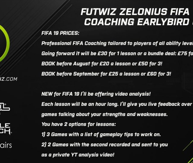 Fifa 19 Coaching Prices And Early Bird Offerspic Twitter Com Fcrrxkd4cy