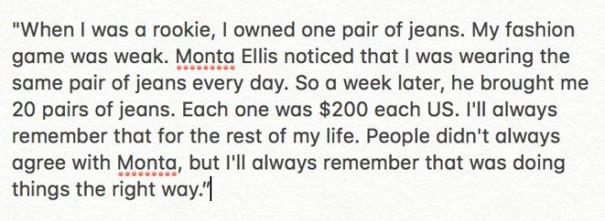 RT @diamond83 Jeremy Lin in commencement speech in Taipei today recalled his time with the Warriors and how Monta Ellis was an example of treating people the right way. https://t.co/AzSDGDQwol