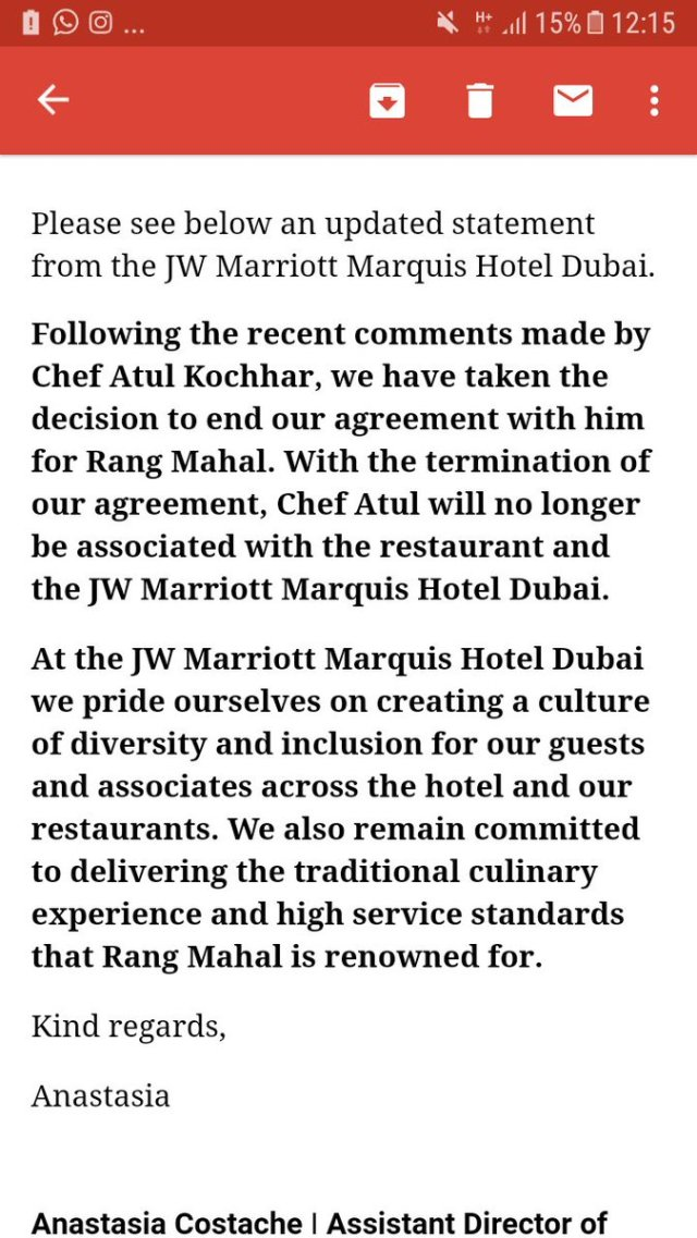 Just got this mail from @JWDubaiMarquis they have terminated the services of...
