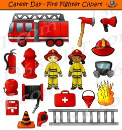 career day fire fighter clipart digital download in color in bw commercial graphics by clipart 4 school http bit ly 2orntwk kids  [ 1111 x 1200 Pixel ]