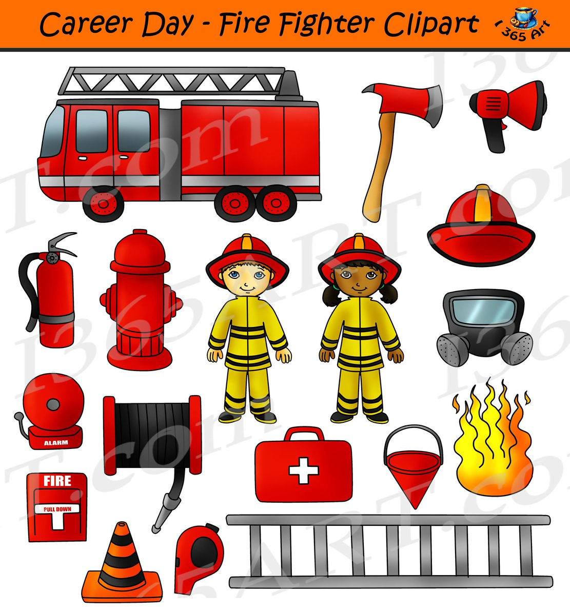 hight resolution of career day fire fighter clipart digital download in color in bw commercial graphics by clipart 4 school http bit ly 2orntwk kids