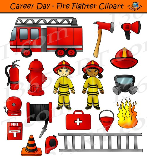 small resolution of career day fire fighter clipart digital download in color in bw commercial graphics by clipart 4 school http bit ly 2orntwk kids