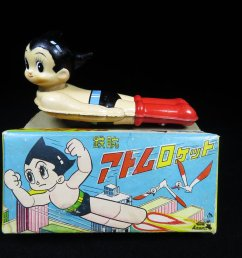 atom astro boy flyer with a difficult to find original box astro boy with a vinyl head and tin body excellent box graphics http bergintoys com  [ 1200 x 900 Pixel ]