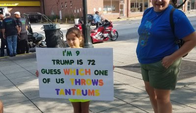 Protest Poster - I'm 9, Trump is 72 Guess Who Has Tantrums