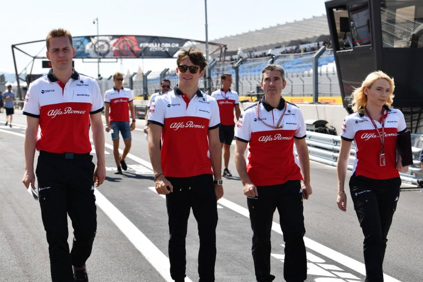 Charles Leclerc and team on a track walk at the Circuit Paul Ricard on Thursday Leclerc Ferrari