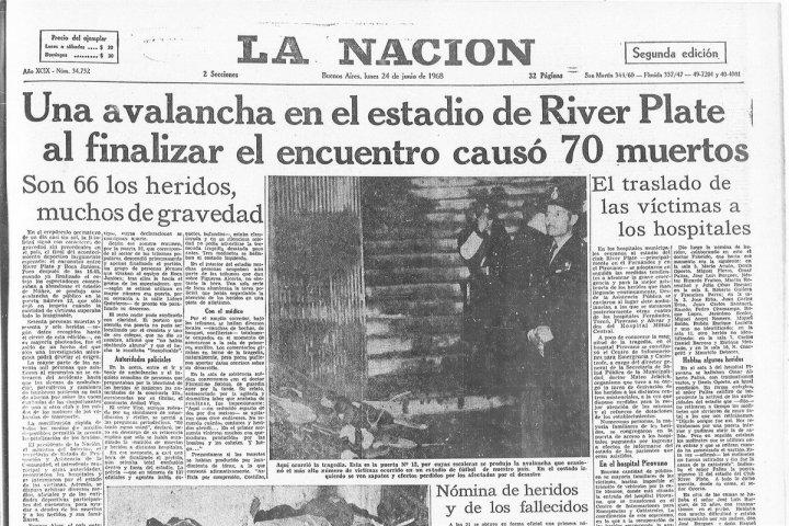 La prima pagina de La Nacion dopo il tragico Superclasico del 1968 | Numerosette Magazine
