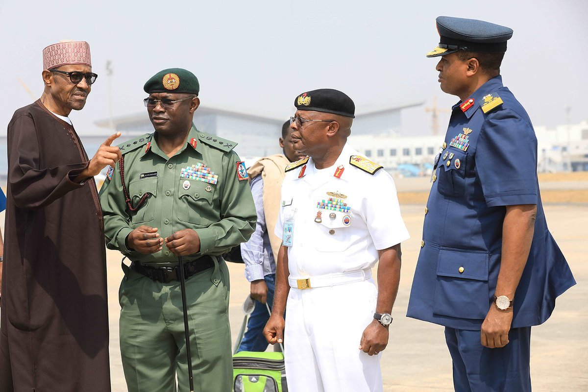Image result for Be patient, my security chiefs racking their brains - Buhari