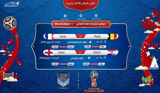 برنامج ومواعيد مباريات نصف نهائي كأس العالم 2018 2