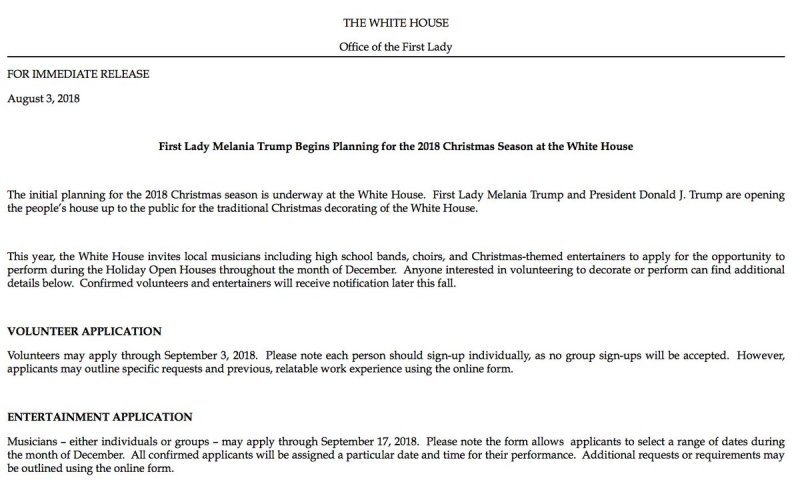 New Melania Trump Announces Initial Planning For 2018 Christmas Season At The White House