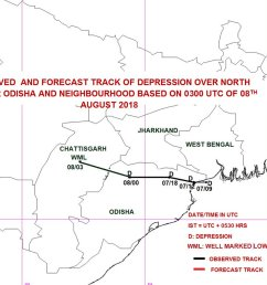 the depression over north interior odisha neighbourhood moved west northwestwards and weakened into a well marked low pressure area over north chattisgarh  [ 1200 x 851 Pixel ]