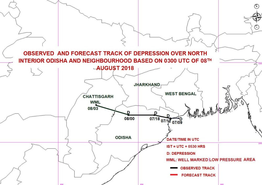 medium resolution of the depression over north interior odisha neighbourhood moved west northwestwards and weakened into a well marked low pressure area over north chattisgarh
