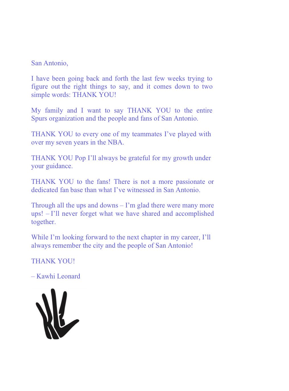 "Jabari Young On Twitter ""Kawhi's Full Thank You Letter To"