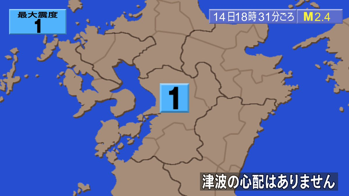 test ツイッターメディア - 発生時刻:2018年08月14日18時31分 震源地:熊本県熊本地方 マグニチュード:2.4 最大震度:1 震源の深さ:10km  この地震による津波の心配はありません。 #地震 #地震情報 https://t.co/n0rq4cMwoy