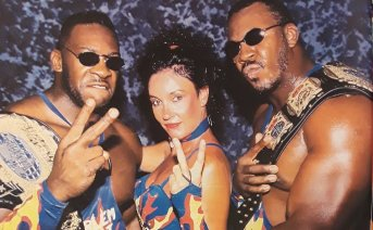"""Rasslin' History 101 on Twitter: """"Sister Sherri leads Booker T.and Stevie  Ray to their 2nd WCW World Tag Team Championship.1995.Sherri would manage  Harlem Heat to their first seven of what would become"""