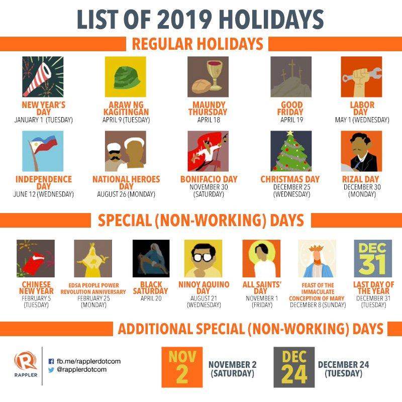 Plan your leaves ahead! ?? ️ list: 2019 philippine holidays - scoopnest.com