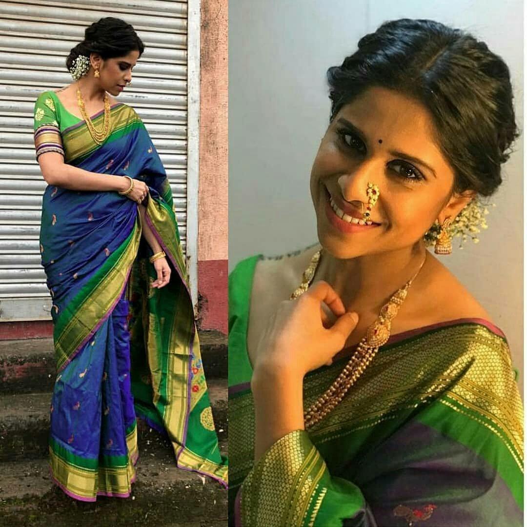 Jewellery Marathi Actress In Paithani Saree