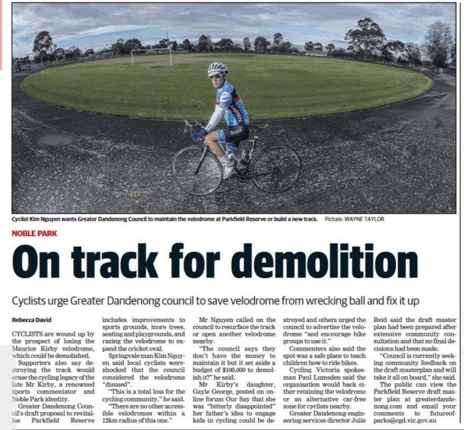 test Twitter Media - With some guidance from us, we have witnessed a remarkable advocacy effort by Uni Student Kim Nguyen over past few months, running a great local advocacy campaign to help save the Noble Park Velodrome.Great to now have @cyclingvictoria support, we're lauching a facebook page soon https://t.co/vC6n3PgW8l