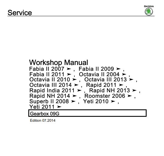 Skoda superb 3 workshop manual