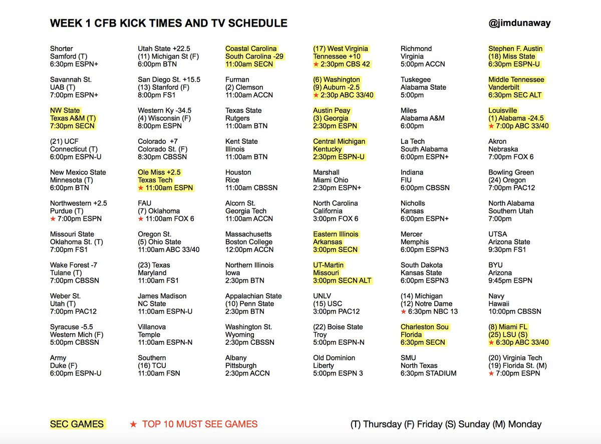 Kick Times Worksheet Listen Weekdays Week Cfb Kick Times