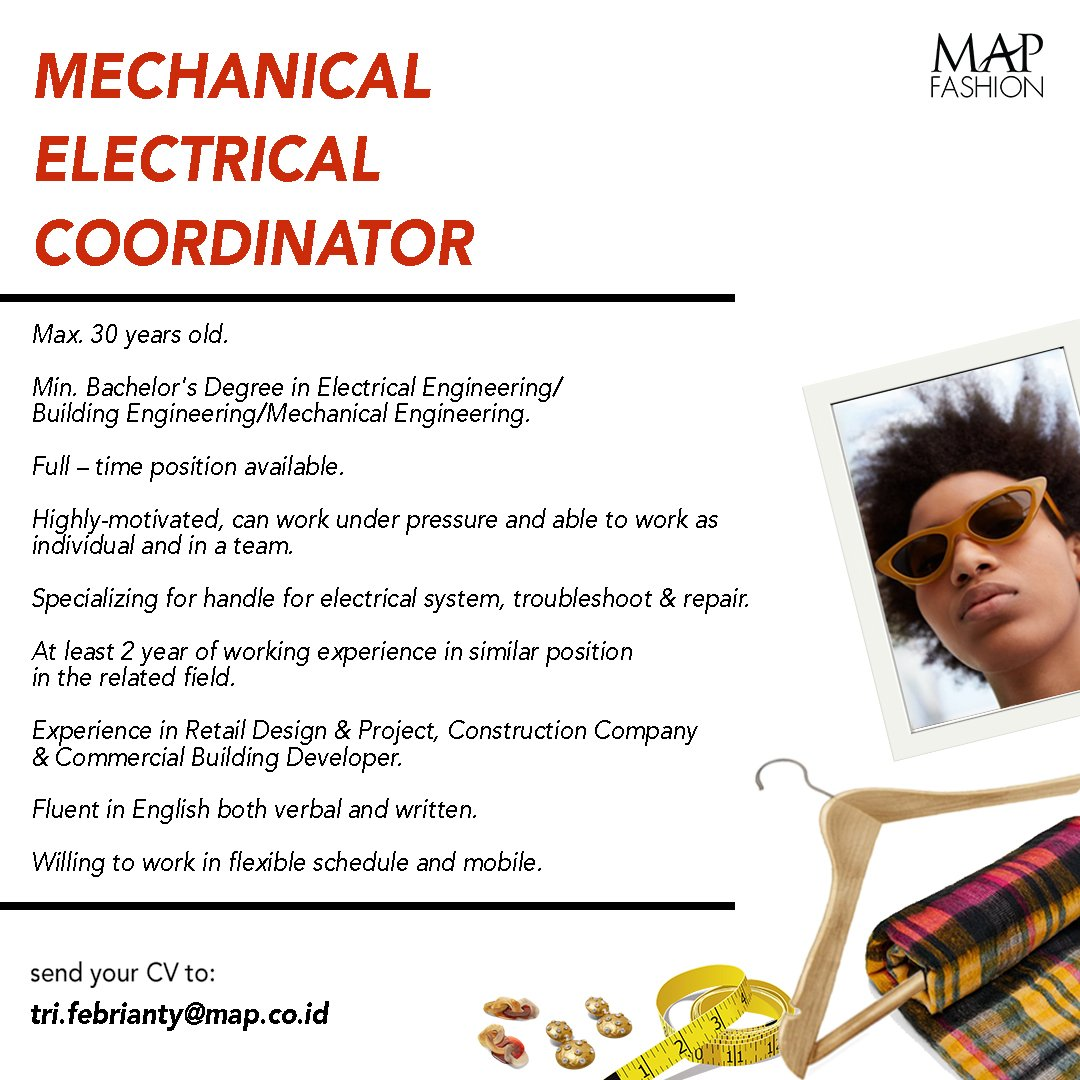 We Are Looking For An Experienced Mechanical Electrical Coordinator To Join  Our Family! Should You Meet The Requirements Above, Kindly Send Your Resume  To
